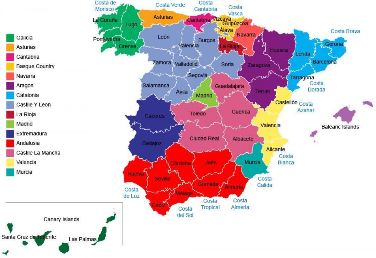 Ispaniya Karta Provincij Ispanii Karta Provincij Regiony Yuzhnaya